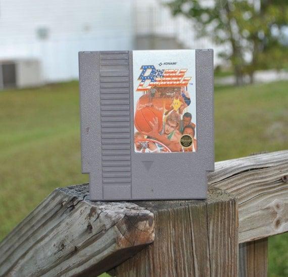 Vintage Nintendo Game Double Dribble Game, Konami, 1986, Basketball, Super Basketball, Slam Dunk, National Anthem, Nintendo, NES, Court