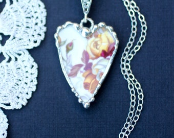 Necklace, Broken China Jewelry, Broken China Necklace, Heart Pendant, Yellow and Golden Roses, Sterling Silver Chain