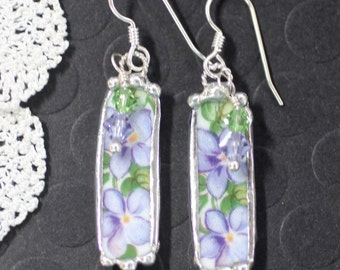 Earrings, Broken China Jewelry, Broken China Earrings, Purple Flowers, Sterling Silver Earrings