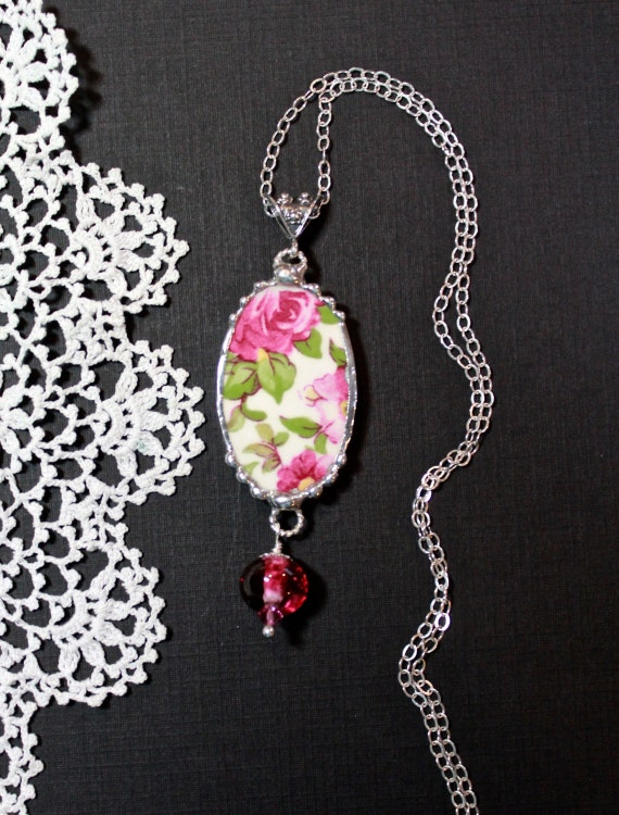 Necklace, Broken China Jewelry, Broken China Necklace, Lampwork Bead, Pink Roses China, Serling Silver, Soldered Jewelry