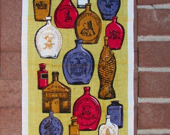 New Vintage Tea Towel with Original KayDee Hand Prints  Label - Early American Bottles 1820-1870