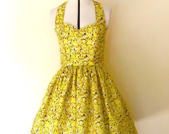 Pokemon dress-Pikachu, pokemon Go, Womens halterneck