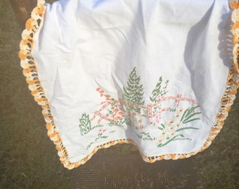 Vintge Hand Embroidered Dresser Scarf, Free Shipping
