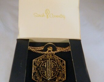 Vintage Sarah Coventry Asian Necklace / Goldtone Oriental Pendant Necklace in the Original Box New Old Stock Vintage Necklace