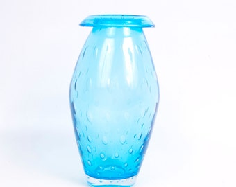 Vintage Turquoise Blue Blown Glass Vase Fold Over Opening Controlled Bubbles