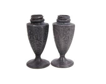 Vintage Pewter Salt Pepper Shakers Dutch Scenes Filigree Design USA Footed Shakers