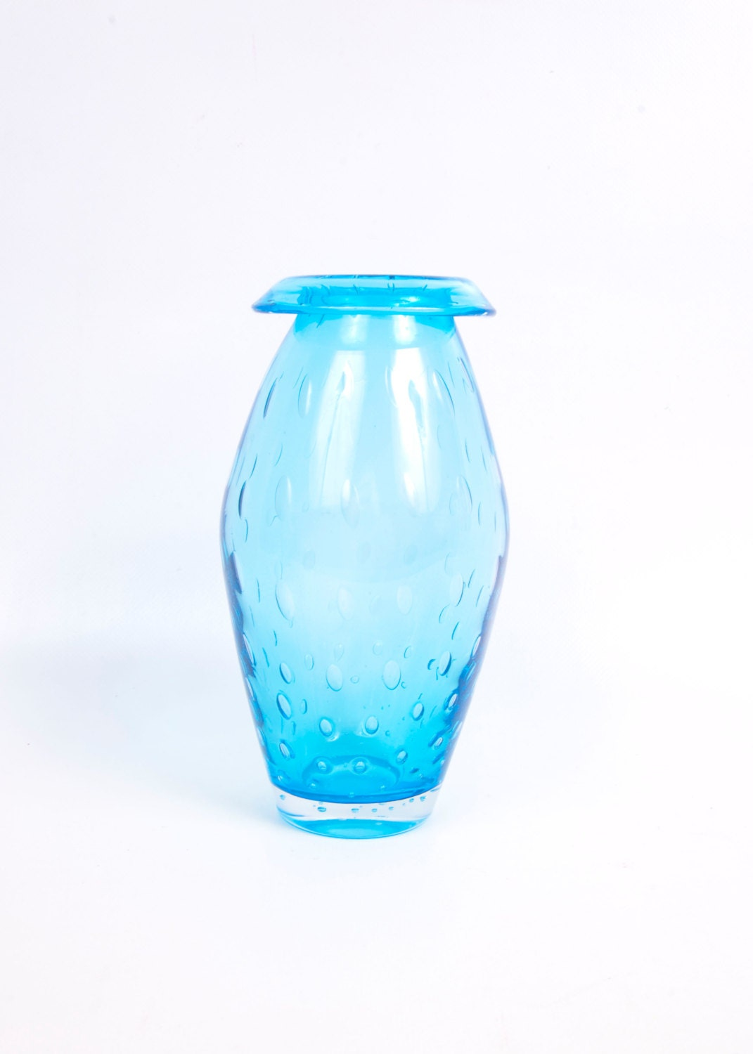 vintage turquoise blue blown glass vase fold by. Black Bedroom Furniture Sets. Home Design Ideas
