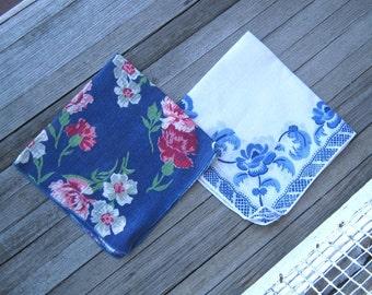 1950s Vintage Dark Blue Hankie with Red Flowers~Gorgeous Blue Floral Handkerchief; Something Blue/Wedding Hankie; Free Ship/U.S.