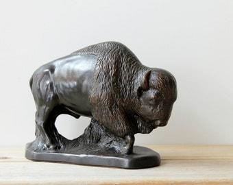 Americana vintage buffalo figurine / ceramic bison desk statue / Western ranch style home decor / rustic cabin decor / masculine desk decor