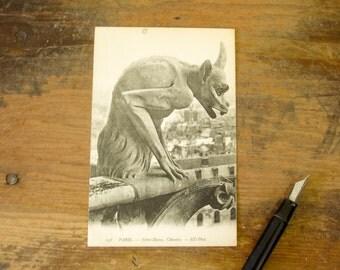 Circa 1909 Vintage French Postcard Gargoyle at Notre Dame Cathedral Paris, France Notre-Dame Chimère Post Card #238