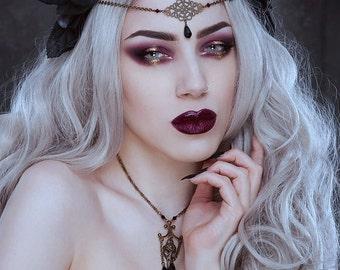 Headchain 'Threnody', head chain, art nouveau, art deco, gothic * Elegant Curiosities *