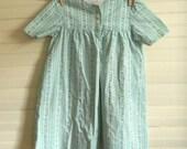 Girls Vintage Dress, Cotton Dress, Green and White Print Dress, Handmade Vintage Dress, Size 2T Cotton Print Dress, Vintage Toddler Dress