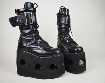 90s Rare New Rock Neptune Black Patent Spring Platform Lace Up Buckled Boots UK 6 / US 8.5 / EU 39
