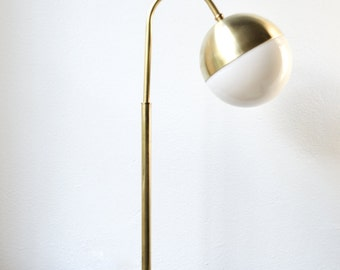 Brass Lamp Rustic Modern Midcentury Solid brass Desk Table lamp - Bent brass / bedside lamp LED BULB •HOOK
