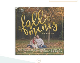 Fall Mini Session Template - Photography Templates - Photographer Marketing - Gold Foil- INSTANT DOWNLOAD MS012