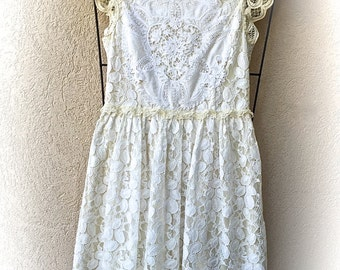 Lovely Lacy Lace Dress Boho Romantic  Rustic Shabby Chic Victorian Vintage Style Cowgirl Prairie Size XS