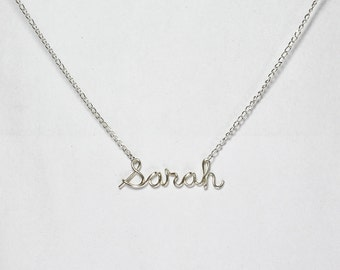 Wire Name Necklace, Personalized Sterling Silver Name Jewelry, Custom Made Wire Writing Necklace, Sister, Friend, Bridesmaid Gift
