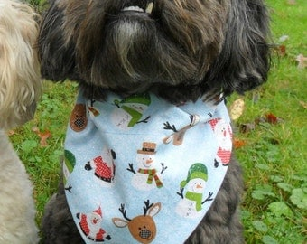 Christmas Dog Bandana - blue with snowmen, reindeer and santa