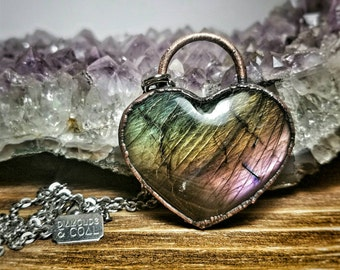 Crystal Heart Necklace -  Spectrolite Pendant - Electroformed Gemstone Necklace