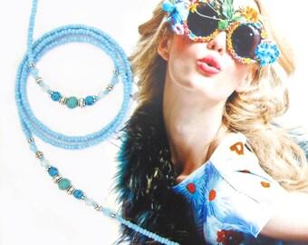 Eyewear holder, Turquoise blue jade and silver, Glasses holder, Eyewear chain, Sunglasses chain, reading glasses, beaded holder, Boho gypsy