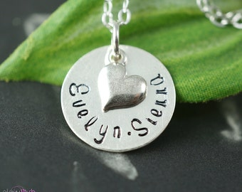 Two name necklace, mothers necklace, heart charm, children names, layering necklace, personalized jewelry