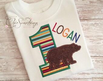 Bear shirt, brown bear shirt, bear birthday, boy bear shirt, brown bear birthday shirt, birthday bear shirt, first birthday bear shirt