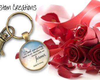 """Memorial Key Chain- """"Dad Your Guiding Hand"""" Customizable-Keepsake-In Memory-Tribute"""
