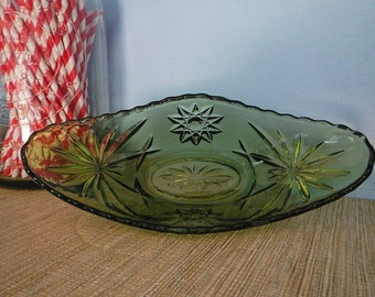 EAPC Early American Prescut Star of David Anchor Hocking Fire King Olive Green Glass Oval Dish Bowl