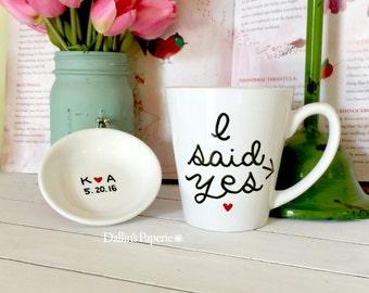 Personalized mug, Ring dish set, Engagement Gift Mug, hand drawn, Hand painted, I said yes mug, Bridal shower gift, trinket dish