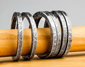 Silver Paisley Stacking Rings - Swirly Scroll Ring bands - Stackable stack rings in Sterling Silver with paisley pattern - Made in your size