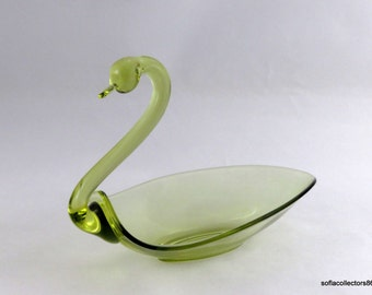 "Tiffin / Duncan and Miller Chartreuse 8"" Pall Mall Swan Dish - Vintage 1950s Tiffin Glass"
