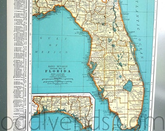 1939 Florida Vintage Atlas Map