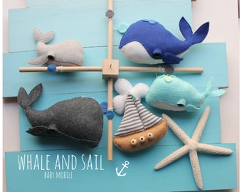 Ocean Baby Mobile - Whale Nursery - Nautical Baby Mobile - Baby Crib Mobile - Ready-to-ship - Ocean Creature - Sea Baby Shower