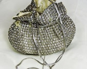 Reserved for millidiamant  Vintage Rhinestone Pouch Purse with Silver Chain Drawstring Closure