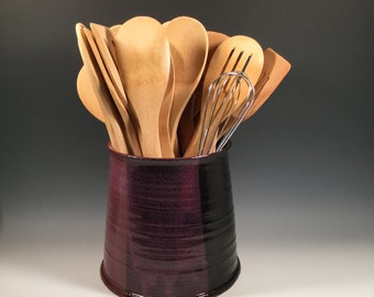 Pottery Kitchen Utensil Holder - Ceramic Wine Chiller  - Purple and Black - Ready to Ship - ceramics - pottery- stoneware