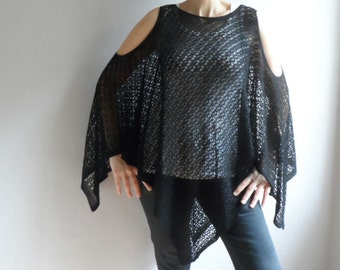Women Vest, Knit Women Tunic, Summer Blouse, Black Women Shirt, Oversize Vest, Plus size Tunic, Beach cover up