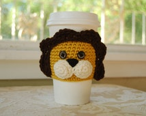 Lion Coffee Cozy, Animal Coffee Cozy, Crocheted Coffee Cozy, Cute Lion Cozy, Crocheted Jungle Animals, Crocheted Lion, Cute Animal Cozies