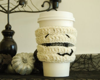 Mummy Coffee Cozy, Halloween Coffee Cozy, Crocheted Coffee Cup Cozy, Crochet Mummy, Cute Mummy, Halloween Gift, Monster Coffee Cozy