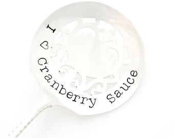 Thanksgiving Table Decor. I Love Cranberry Sauce. Stamped server. By Milk & Honey ®