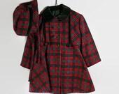 50s Toddler Coat Hat Set Girls Plaid Red Green