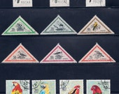 Falcons, Parrots and other Birds (3A) - Vintage Stamps - Poland 1970s, Hungary 1970s,  Ras Al Khaimah, UAE 1950s - Collectibles, Supplies