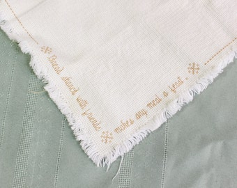 Hand made bread cloth- Vintage embroidery- Cross Stitch- Bread Basket Cloth- Ecru, Ivory, Brown- Fringed edges, hostess gift