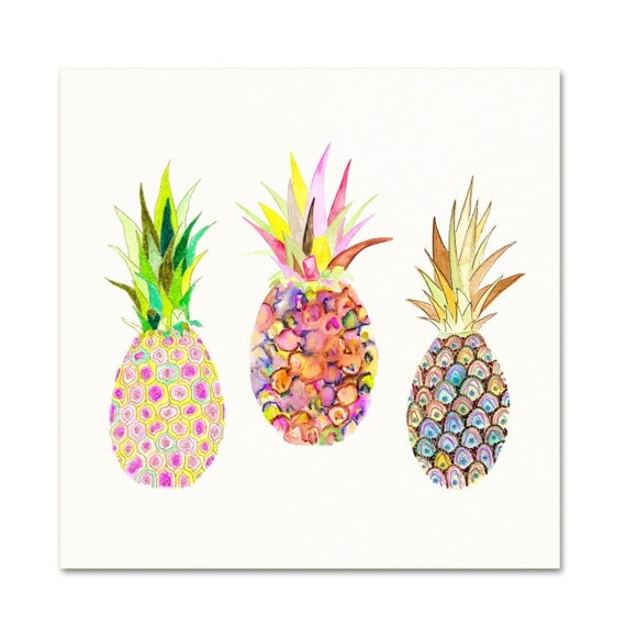 Watercolor pineapple illustration pink pineapples entryway - Etsy bilder ...