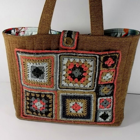 Granny Square Tote, Crochet Wool, Quilted Wool, Box of Chocolates ...