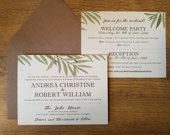 Rustic Kraft Willow Tree Nature Wedding Invitations