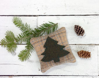 Woodland Pillow, Maine Balsam Pillow, Tree Pillow, Cabin Pillow, Rustic Home Decor, Pine Tree Pillow,Eco Friendly Gift, 4 Inch Square Pillow