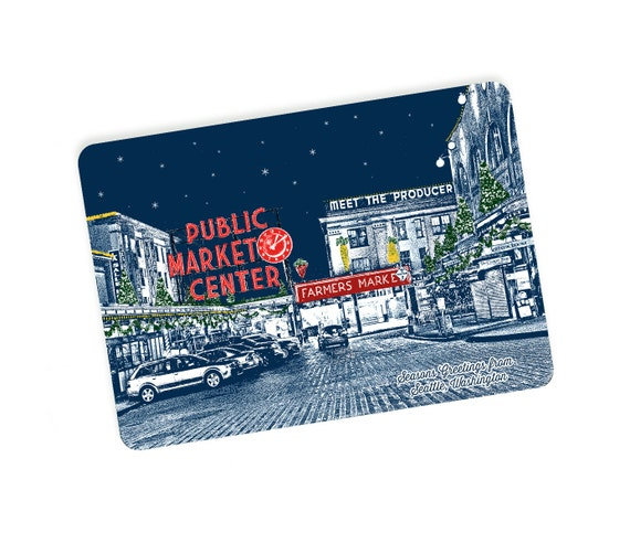 Holiday Seattle, WA Themed Postcards - Pike Place Market Holiday Style - Single or Set