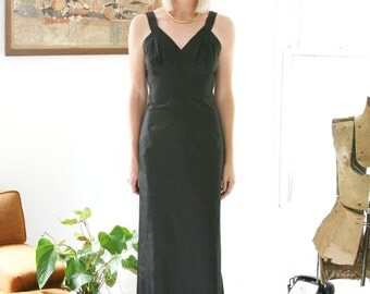 Closing SALE Vintage 30s Slip Dress Taffeta Gown Black Long Old Hollywood Glamour