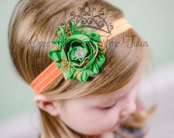 Orange Green Star Print Shabby Flower Headband - Photo Prop - Newborn Baby - Little Girls Hair Bow - Toddler Infant Childrens Accessory