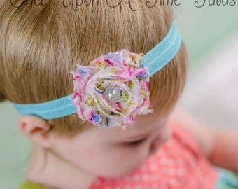 Blue Pink Spring Country Floral Single Shabby Flower Rose Headband Photo Prop Newborn Baby Toddler Little Girls Hair Bow Accessories